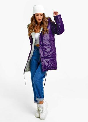 Фиолетово-бежевая двусторонняя куртка с капюшоном