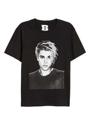 H&m мерч футболка принт джастин бибер bieber