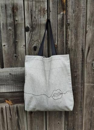 Эко- сумка с вышивкой ручной работы из испанского хлопка