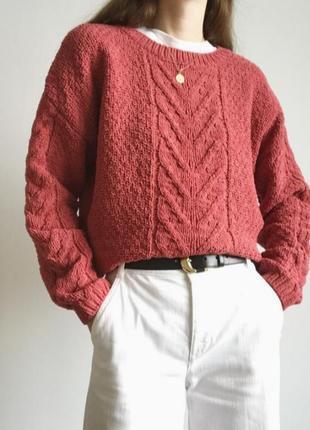 Плюшевый велюровый свитер оверсайз с узором косы