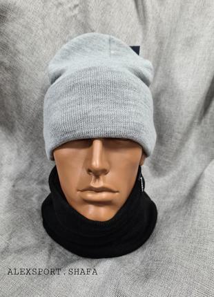 Шапка длинная однотонная с подворотом серая в расцветках унисекс осень зима ,шапка мужская