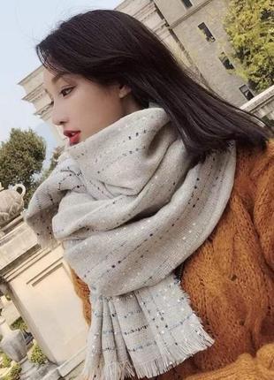 Стильный женский большой теплый бежевый шарф