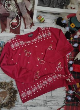 Свитер новогодний тёплый осень зима снеговики casamia exclusive