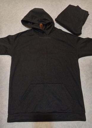 Спортивный костюм на флисе, miederes, черный, р.44, новый