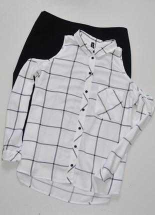 H&m  мега стильная рубашка из вискозы,клетка с открытыми плечами