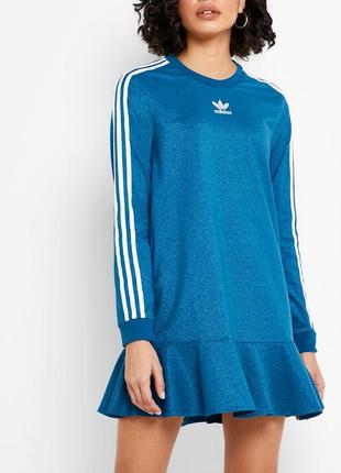 Платье adidas с лампасми длиным рукавом адидас новые коллекции юбка