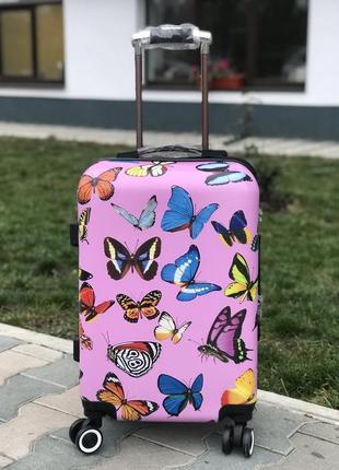 Эксклюзив! пластиковый чемодан для ручной клади с принтом / валіза пластикова з малюнком