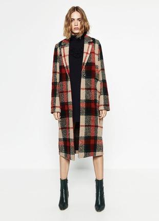 Пальто zara оригинал шерстяное зимнее теплое в клетку шуба