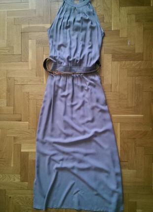 Пепельное летнее платье-сарафан