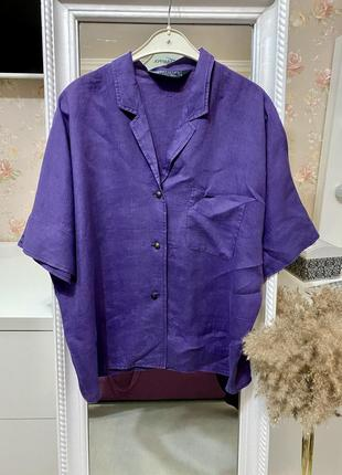 Льняная  лен рубашка max mara