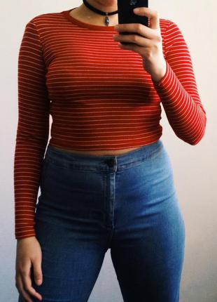Хлопковый красный полосатый кроп топ new look длинный рукав