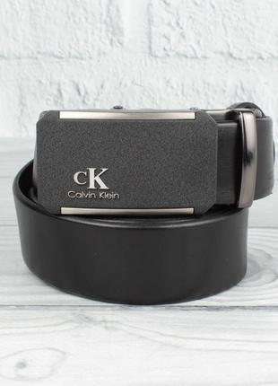 Кожаный ремень автомат мужской ck 8206-308 с напылением черный, коричневый, темно-синий