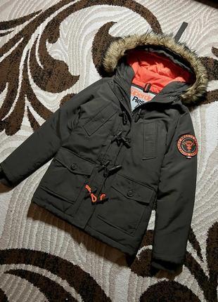 Мужская зимняя парка курточка с мехом пуховик superdry супердрай теплая парка