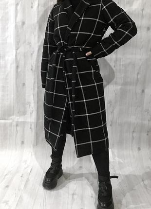 Новое зимнее пальто в клетку , клетчатое с утеплителем на запах 🖤1 фото