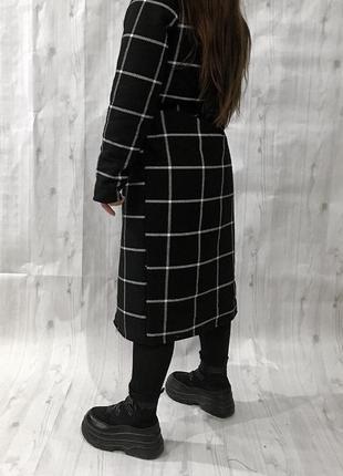 Новое зимнее пальто в клетку , клетчатое с утеплителем на запах 🖤3 фото