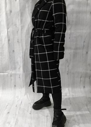 Новое зимнее пальто в клетку , клетчатое с утеплителем на запах 🖤4 фото