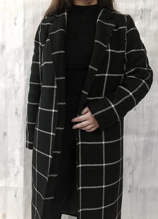 Новое зимнее пальто в клетку , клетчатое с утеплителем на запах 🖤6 фото