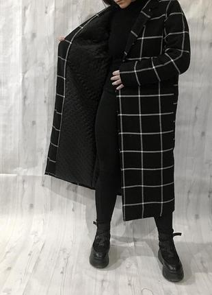 Новое зимнее пальто в клетку , клетчатое с утеплителем на запах 🖤7 фото