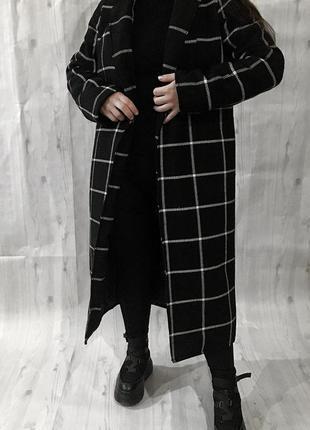 Новое зимнее пальто в клетку , клетчатое с утеплителем на запах 🖤8 фото