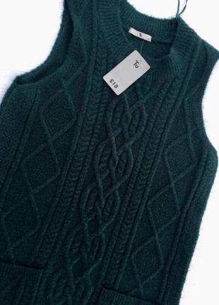 Удлиненная вязаная безрукавка,свитер tu