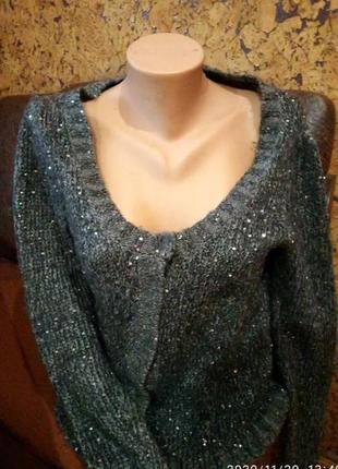 Зима кофта меланж кардиган жакет  теплая шерстяная вязка  с пайетками от designers
