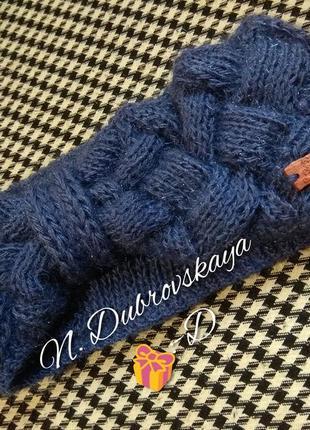 Вязанная, модная повязка, цвета прекрасной сирени, handmade