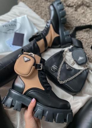 Prada boots zip pocket black/nude 🆕 шикарные ботинки прада 🆕 купить наложенный платёж