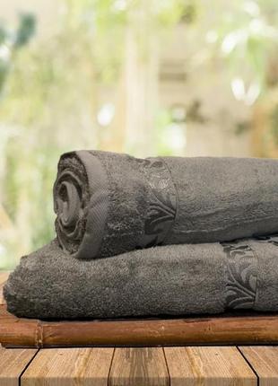 Полотенце банное из 100% органического бамбука 70х140 тмvarol махровое. серый