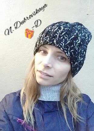 Вязанная, модная, черная шапка, handmade