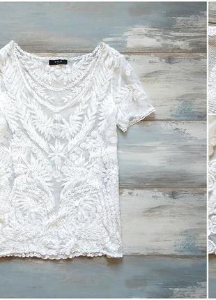 Белая блуза с вышивкой  vila
