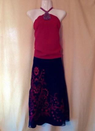 Топ и шелковая юбка monsoon s. шикарный костюм.