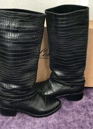 Высокие зимние кожаные сапоги с премиум кожи, сапоги под кожу крокодила lordоns
