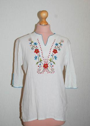 Вышиванка блуза в стиле вышиванки хлопок вышивка жатая.