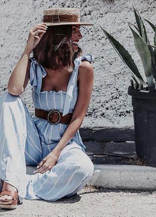 Стильный комбинезон с широкими брюками полосатый с бантами бюстье h&m