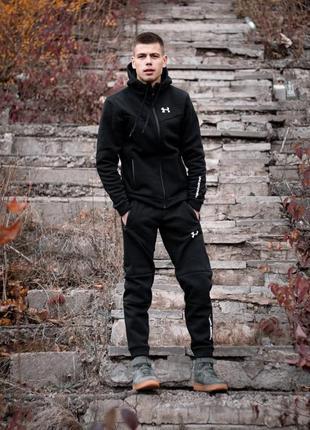 Мужской утеплённый спортивный  костюм under armour чёрный