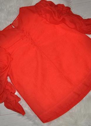 Шикарная, яркая блузка h&m из органзы с объемными рукавами