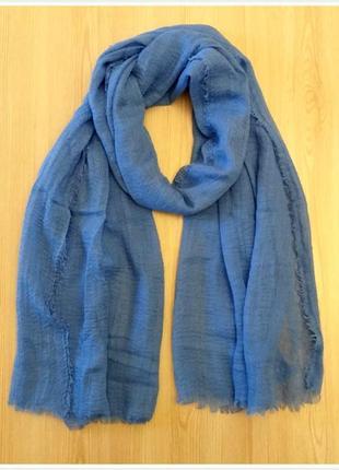 Однотонный шарф базовый  голубой