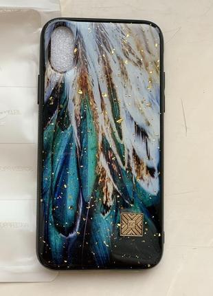 Чехол на iphone золотой xs, x, перья, бампер, айфон