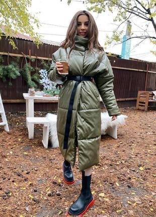 Длинная кожаная куртка пуховик зима эко кожа кожаное пальто еко шкіра