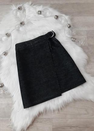 Cерая юбка в рубчик на запах new look