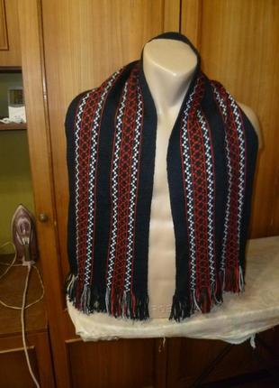 Мягкий удобный теплый шарф с узором унисекс