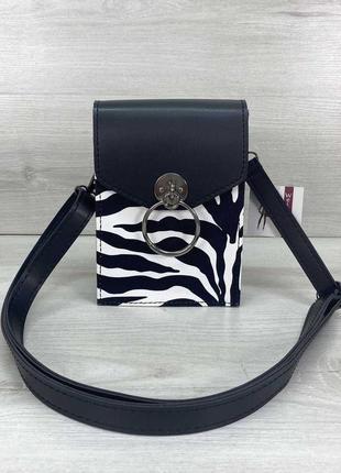 Молодежная маленькая сумка через плечо вертикальна для телефона кросс-боди черно-белая