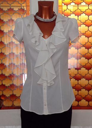 Нарядная белая шёлковая блуза с коротким рукавом от banana republic