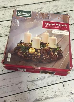 Новогодний рождественский венок подсвечник melinera декор новый год