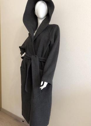 Шерстяное, кашемир длинное пальто с капюшоном