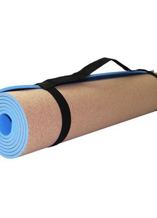 Коврик мат для йоги и фитнеса sportvida tpe+cork 0.6 см skl41-277728