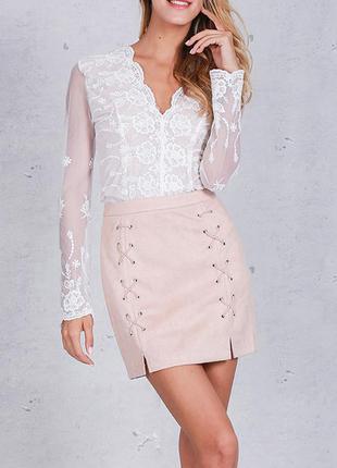 Бежево-розовая мини-юбка со шнуровкой, со шнуровкой, новинка2017