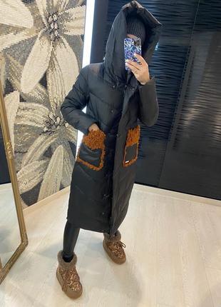 Зимний пуховик пальто на утеплителе матовая плащевка