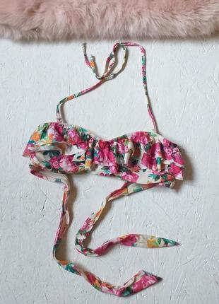 Милый верх купальника в цветочный принт рюши бандо