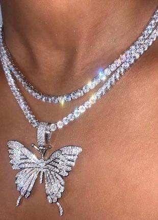 Ожерелье с бабочкой, колье, чокер, цепочка со стразами